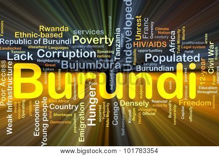 Background concept wordcloud illustration of Burundi glowing light