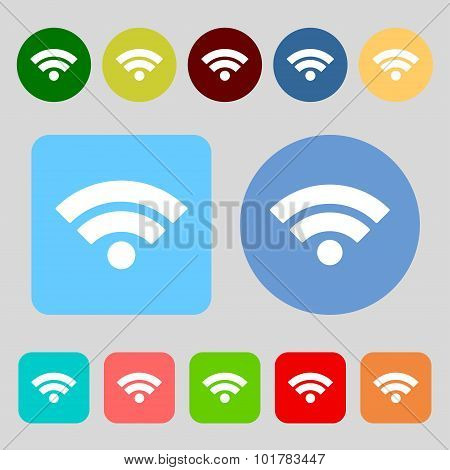 Wifi Sign. Wi-fi Symbol. Wireless Network Icon. Wifi Zone. 12 Colored Buttons. Flat Design. Vector
