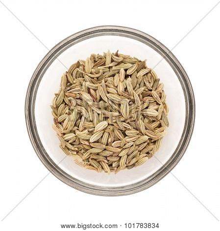 Half filled Fennel seed in bowl top view.