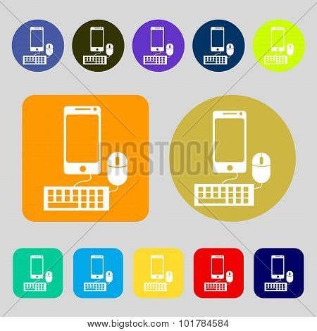 Smartphone Widescreen Monitor, Keyboard, Mouse Sign Icon. 12 Colored Buttons. Flat Design. Vector