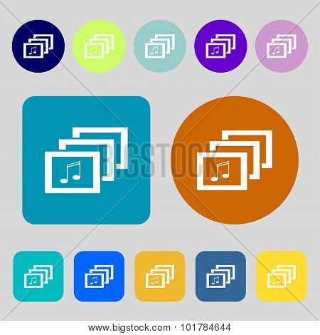 Mp3 Music Format Sign Icon. Musical Symbol. 12 Colored Buttons. Flat Design. Vector