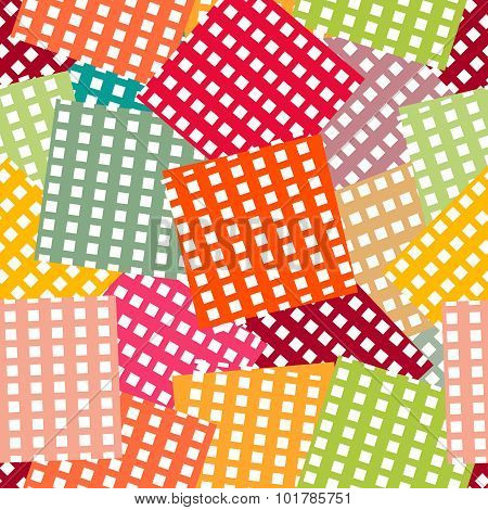 Bright seamless pattern. Patchwork style background. Vector illustration can be copied without any s