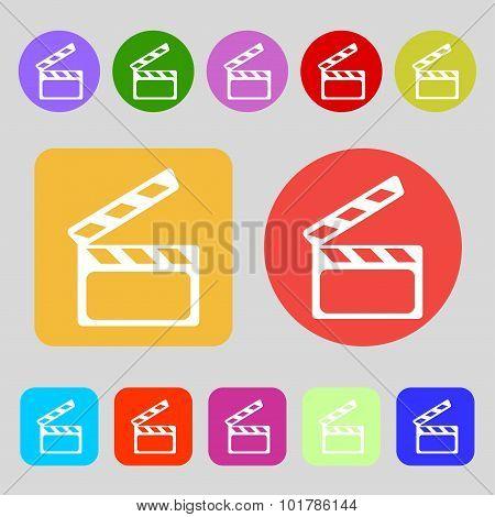 Cinema Clapper  Sign Icon. Video Camera Symbol. 12 Colored Buttons. Flat Design. Vector