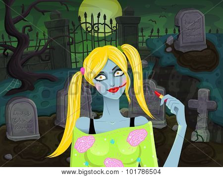 Graveyard Girl Zombie. Vector illustration