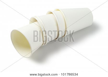 Empty Paper Cups Lying on White Background