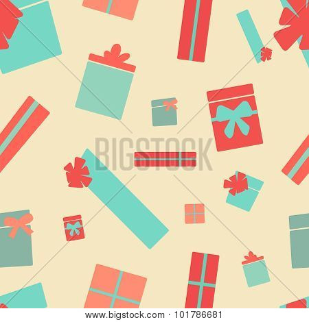 Retro style presents seamless pattern. Party background. Endless texture in pastel colors. Vector il