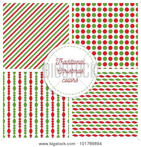 Set of simple retro geometric Christmas patterns. Traditional colors. Background can be copied witho