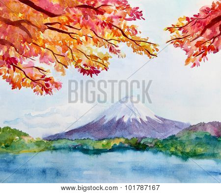 Watercolor landscape with mountain Fujiyama and maple tree