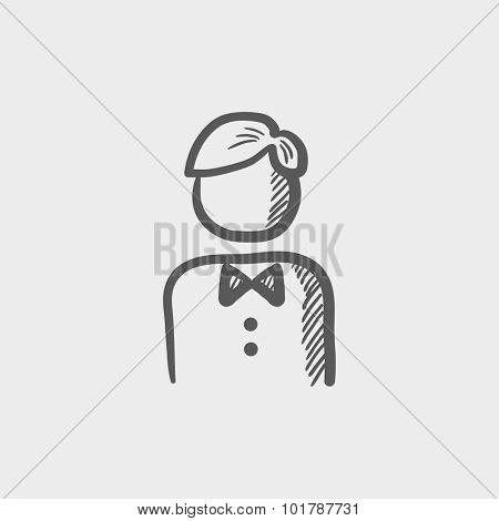Waiter sketch icon for web, mobile and infographics. Hand drawn vector dark grey icon isolated on light grey background.