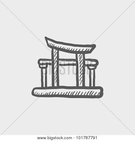 Torii gate sketch icon for web, mobile and infographics. Hand drawn vector dark grey icon isolated on light grey background.