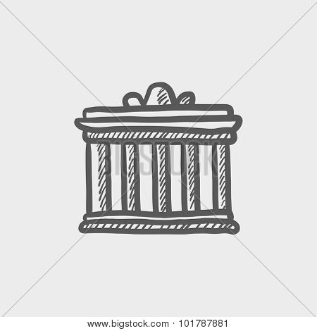 Acropolis of Athens sketch icon for web, mobile and infographics. Hand drawn vector dark grey icon isolated on light grey background.