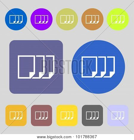Copy File Sign Icon. Duplicate Document Symbol. 12 Colored Buttons. Flat Design. Vector