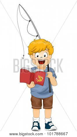 Illustration of a Little Boy Holding a Fishing Rod Reading a Book