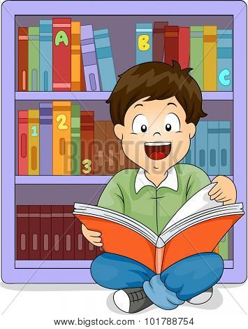 Illustration of a Little Boy Sitting in Front of a Bookshelf Reading a Book