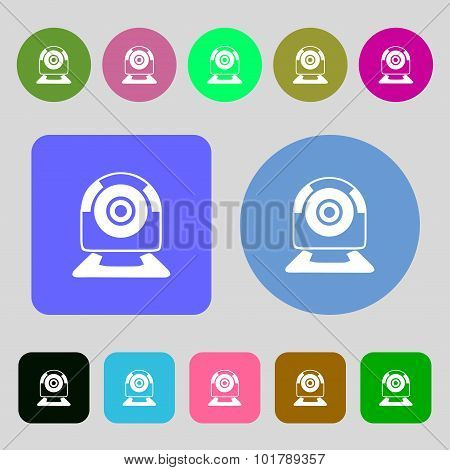Webcam Sign Icon. Web Video Chat Symbol. Camera Chat. 12 Colored Buttons. Flat Design. Vector