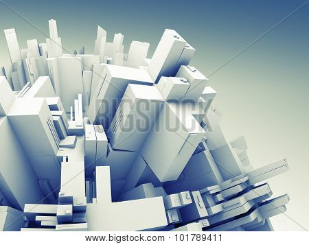 3D Object With Chaotic Surface Made Of Boxes
