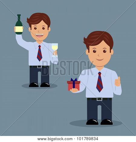 Set of businessman with a glass of champagne and gift.