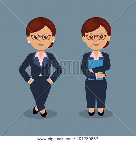 Set of business woman standing in various action.