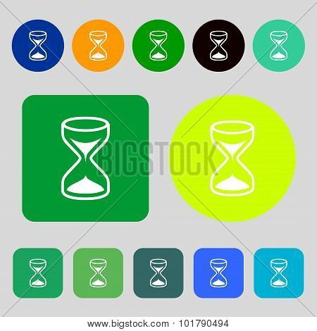 Hourglass Sign Icon. Sand Timer Symbol. 12 Colored Buttons. Flat Design. Vector