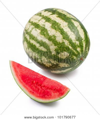 Water-melon is knifed on a white background