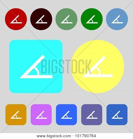 Angle 45 Degrees Icon Sign. 12 Colored Buttons. Flat Design. Vector