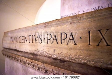 Vatican City, Vatican - October 29: Papal Tomb In The Crypt Beneath The Basilica Of St. Peter's Basi