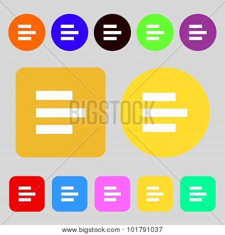 Left-aligned Icon Sign. 12 Colored Buttons. Flat Design. Vector