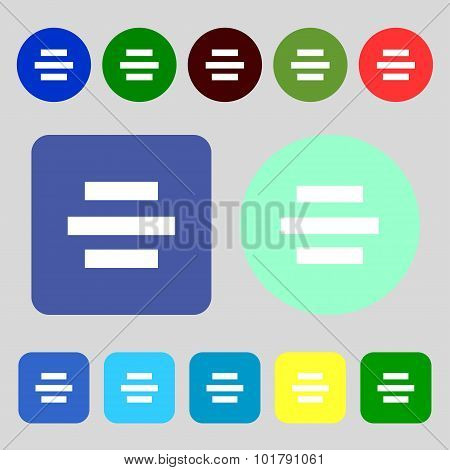 Center Alignment Icon Sign. 12 Colored Buttons. Flat Design. Vector