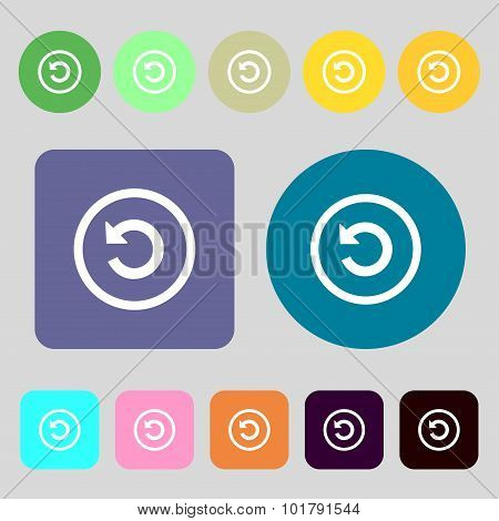 Upgrade, Arrow, Update Icon Sign. 12 Colored Buttons. Flat Design. Vector