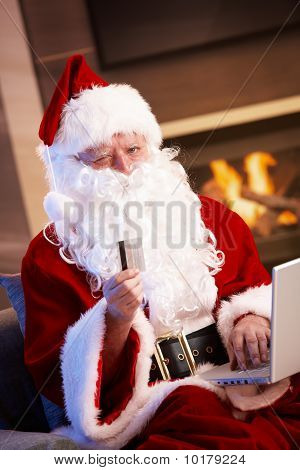 Santa Claus Purchasing On Internet