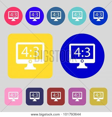 Aspect Ratio 4 3 Widescreen Tv Icon Sign. 12 Colored Buttons. Flat Design. Vector