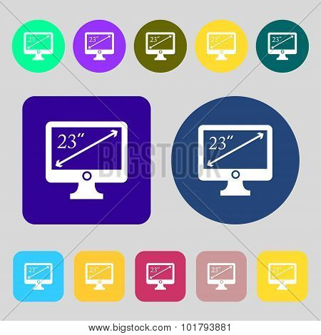 Diagonal Of The Monitor 23 Inches Icon Sign. 12 Colored Buttons. Flat Design. Vector