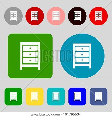 Nightstand Icon Sign. 12 Colored Buttons. Flat Design. Vector