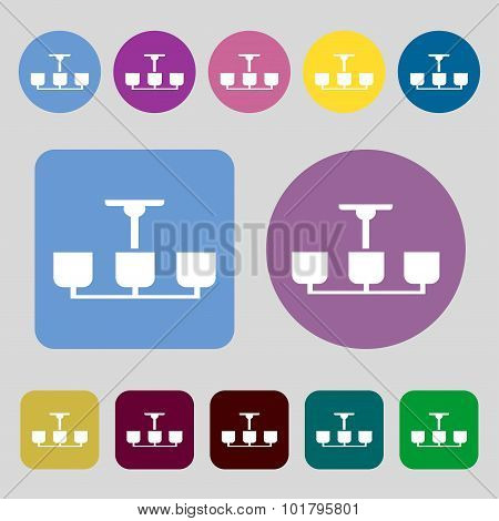 Chandelier Light Lamp Icon Sign. 12 Colored Buttons. Flat Design. Vector