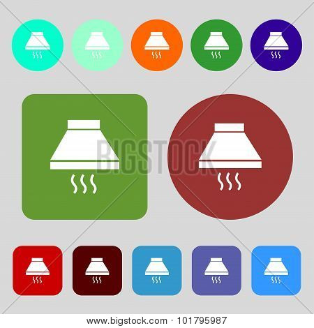 Kitchen Hood Icon Sign. 12 Colored Buttons. Flat Design. Vector