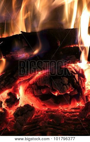 Close up of logs on a fire