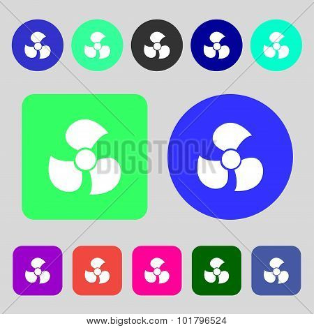 Fans, Propeller Icon Sign. 12 Colored Buttons. Flat Design. Vector
