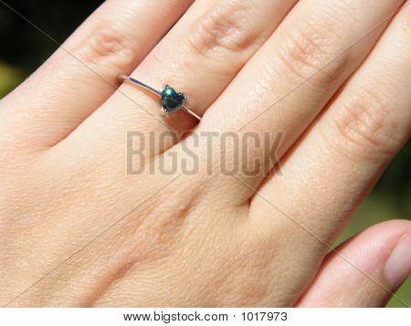 Sparkling Blue Diamond Heart Ring