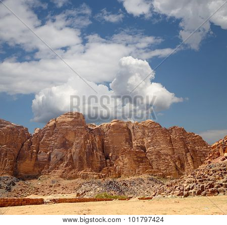 Mountains Of Wadi Rum Desert in southern Jordan 60 km to the east of Aqaba