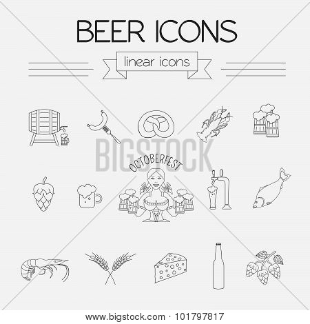 Beer icon set. Logos and badges template. Linear style. Octoberfest.