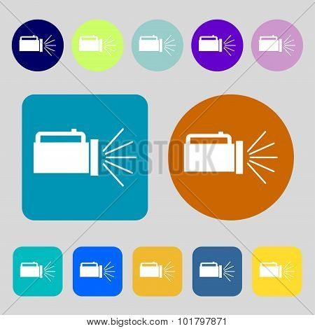 Flashlight Icon Sign. 12 Colored Buttons. Flat Design. Vector