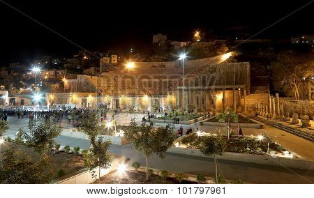 Roman Theatre In Amman (at Night), Jordan -- Theatre Was Built The Reign Of Antonius Pius (138-161 C