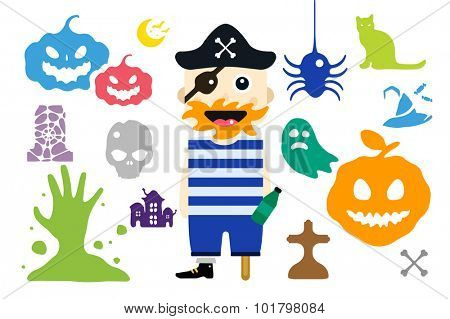 Monster pirate captain cartoon characters isolated vector silhouette. Cartoon monsters, pirate mascot flat.Halloween costume character, Halloween mascot. Monster kids costume, pirate cartoon character
