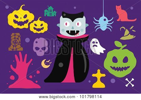 Monster vampire cartoon characters isolated vector silhouette. Cartoon monsters, vampire flat. Halloween costume character, Halloween mascot. Monster kids costume, vampire cartoon character