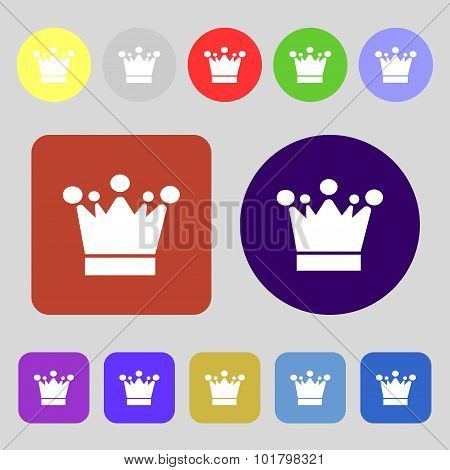 Crown Icon Sign. 12 Colored Buttons. Flat Design. Vector