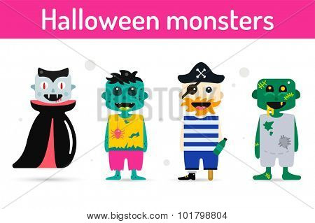 Monster cartoon characters isolated silhouette. Cartoon monsters, zombie flat. Halloween costume characters, Halloween mascots. Monster kids costume, vampire, zombie, pirate cartoon characters.