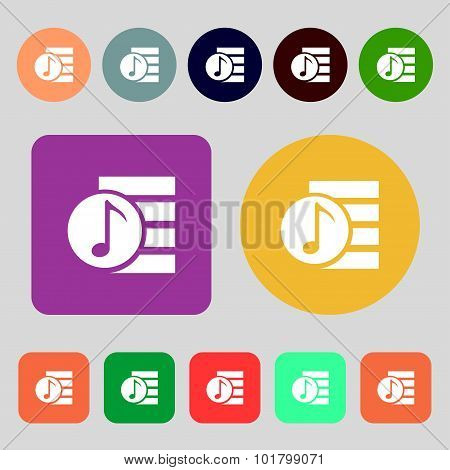 Audio, Mp3 File Icon Sign. 12 Colored Buttons. Flat Design. Vector