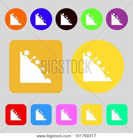 Rockfall Icon. 12 Colored Buttons. Flat Design. Vector