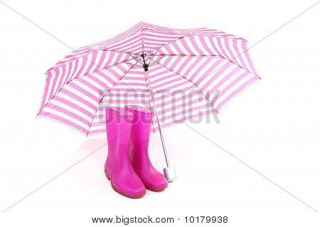 Pink Umbrella And Rain Boots