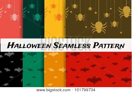 Halloween vector background seamless pattern. Bat fly, Halloween symbols. Halloween silhouette for Halloween party design. Halloween seamless background, bat, spider icons vector